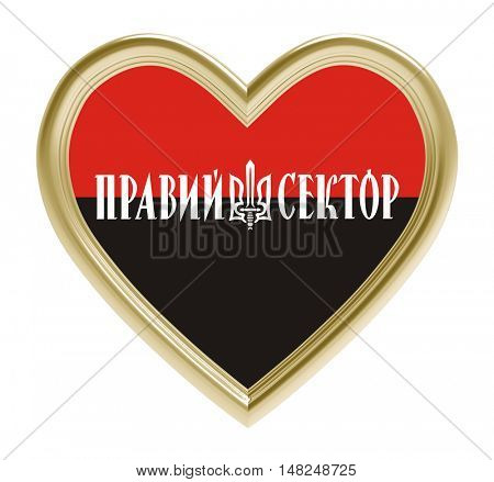 Right sector flag in golden heart isolated on white background. 3D illustration.