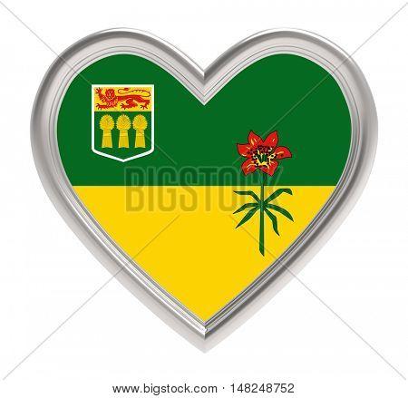 Saskatchewan flag in silver heart isolated on white background. 3D illustration.