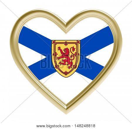 Nova Scotia flag in golden heart isolated on white background. 3D illustration.