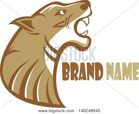 logo brown panther roaring show sharp teeth