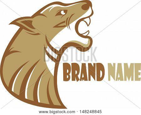 logo brown panther roaring show sharp teeth