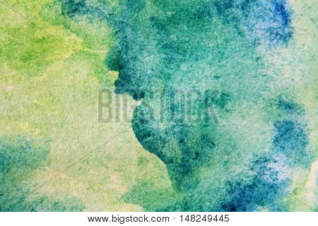 Macro Green with Blue Watercolour Textures 12