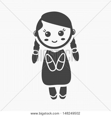 Doll black icon. Illustration for web and mobile.