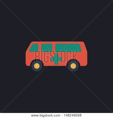 Ambulance Color vector icon on dark background