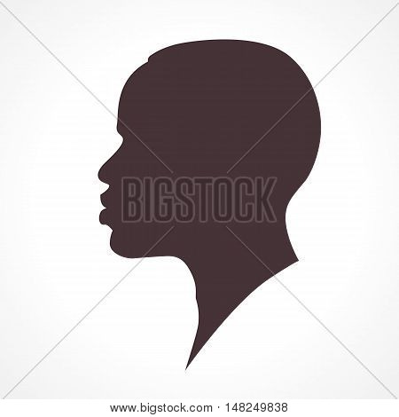 African man face silhouette over white background