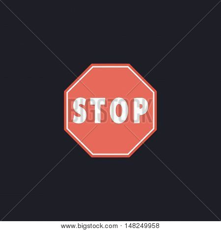 Vector Stop Sign Icon Color vector icon on dark background
