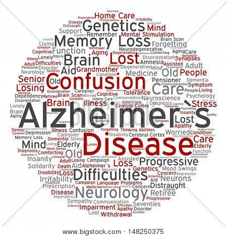 Concept conceptual Alzheimer`s disease symtoms abstract round word cloud isolated on background