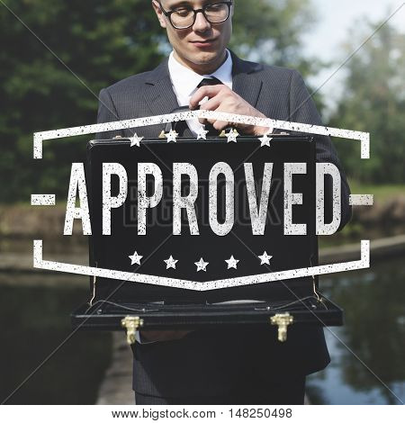 Approved Tag Label Business Man Background Concept