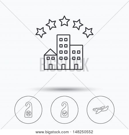 Hotel, airplane and clean room icons. Do not disturb linear sign. Linear icons in circle buttons. Flat web symbols. Vector