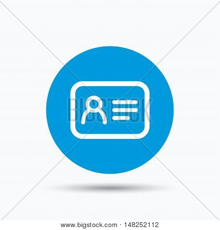 ID card icon. Personal identification document symbol. Blue circle button with flat web icon. Vector