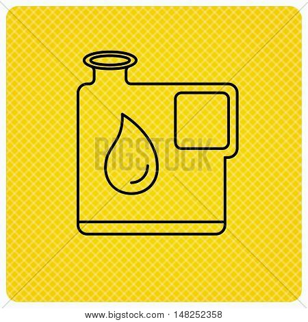 Jerrycan icon. Petrol fuel can with drop sign. Linear icon on orange background. Vector