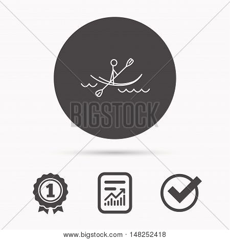 Kayaking on waves icon. Rafting or canoeing sign. Boating sport symbol. Report document, winner award and tick. Round circle button with icon. Vector