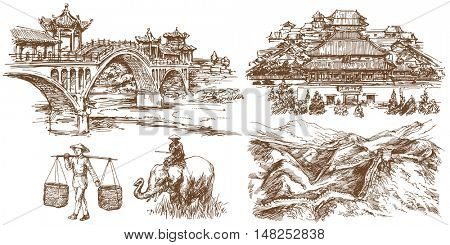 Chinese traditional bridges and architecture. Forbidden city. Hand drawn set.