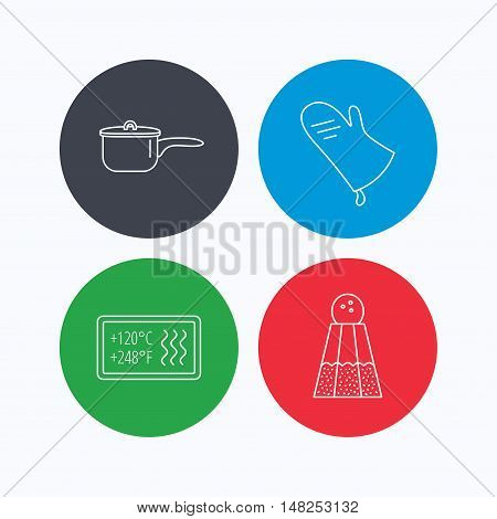 Saucepan, potholder and salt icons. Heat-resistant linear sign. Linear icons on colored buttons. Flat web symbols. Vector