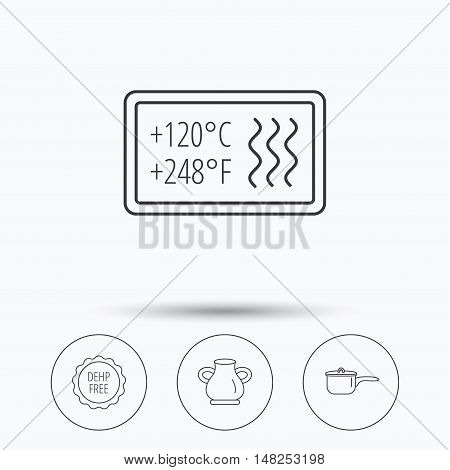 Saucepan, vase and heat-resistant icons. DEHP free linear sign. Linear icons in circle buttons. Flat web symbols. Vector
