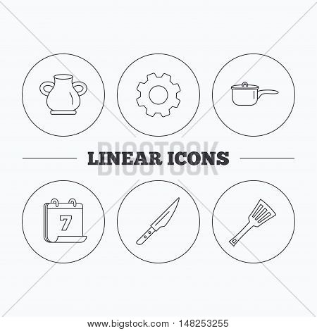 Saucepan, kithcen knife and utensils icons. Vase linear sign. Flat cogwheel and calendar symbols. Linear icons in circle buttons. Vector