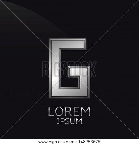 Silver G Letter emblem. Business logo template