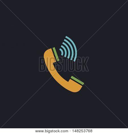 handset Color vector icon on dark background
