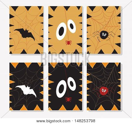 Set of Halloween ards. Cute and scary cards templates. holidays elements - bat, web, spider, pumpkin fangs. Halloween postcards, covers, tags, icons set and more.