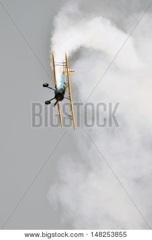 Bi-plane In Flight