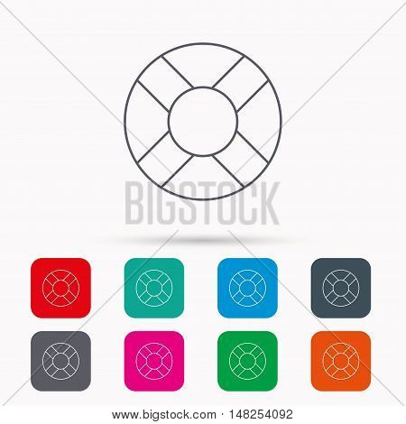 Lifebuoy icon. Lifebelt sos sign. Lifesaver help equipment symbol. Linear icons in squares on white background. Flat web symbols. Vector