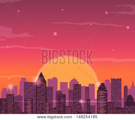 Evening city skyline. Buildings silhouette cityscape. Red sky with sun and clouds. Vector illustration