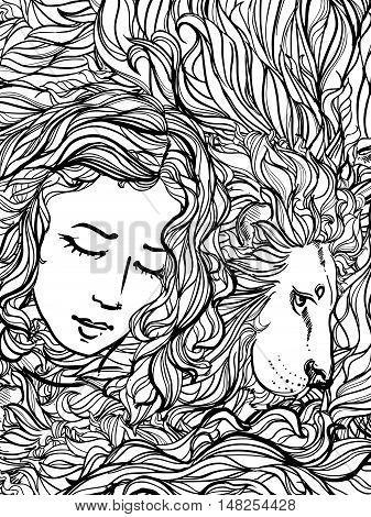 Hand drawn vector illustration of doodle lion and woman with curly hair on white background. sketch. Vector eps 8