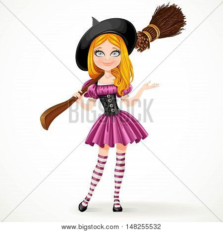 Cute teenage redhaired witch in purple dress with a broom on her shoulder isolated on white background