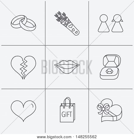 Love heart, kiss and wedding rings icons. Broken heart, couple and gift box linear signs. Valentine amour arrows flat line icons. Linear icons on white background. Vector
