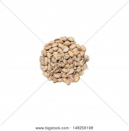 Christmas goodies heap of raw pistachio nuts isolated on white