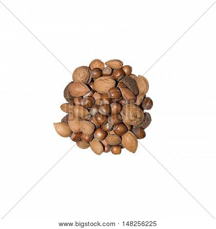 Christmas goodies heap of various nuts isolated on white