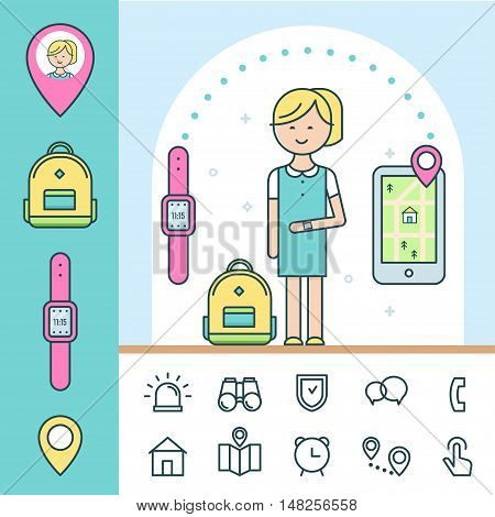Smart Watch and Tracker for Children. Infographics Elements. Vector Design