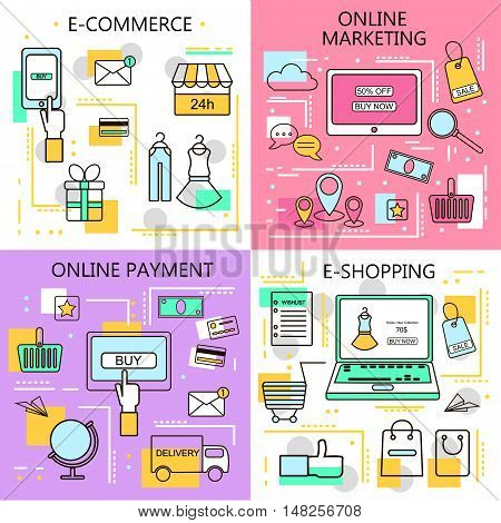 E-Commerce Online ShoppingMarketingOnline Payment Banners. Business. Internet and mobile marketing concept. For web and mobile phone services and apps.Vector Line Illustration.