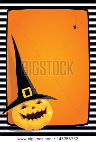 Vector Halloween orange background with black and white striped frame and cartoon illustration of a laughing pumpkin in a black witch hat. Vertical A4 format, free place for text.