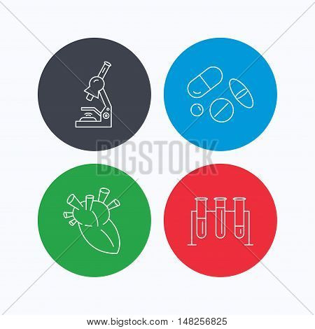 Microscope, medical pills and heart icons. Lab bulbs linear sign. Linear icons on colored buttons. Flat web symbols. Vector