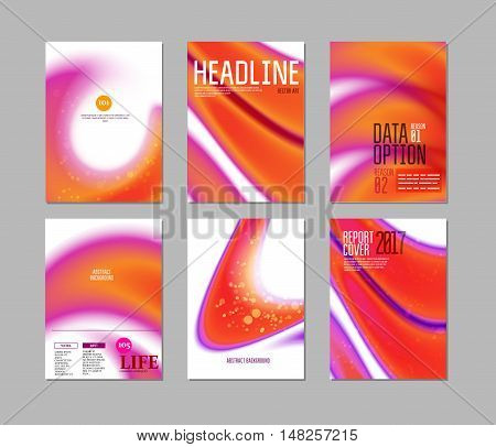 Abstract Backgrounds Vector Set for business report, flyers and over covers. Geometric Shapes for presentation, brochures, leaflets, posters, business cards. Orange colors.
