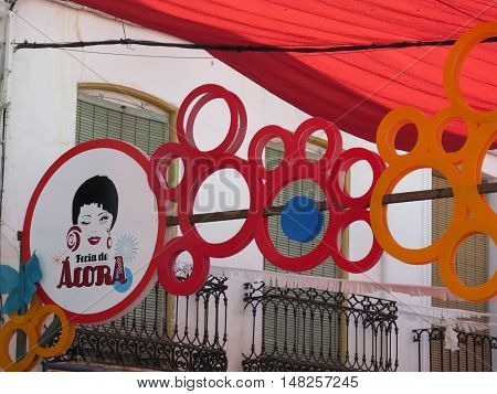 Alora Spain - August 2 2016: Feria Portal for annual village festival