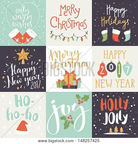 Merry Christmas invitation card and happy new year invitation. Vector illustration christmas invitation card festive gift. Holiday greeting background xmas design christmas invitation card.