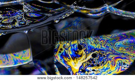 Rainbow colors created by soap, bubble, use for background