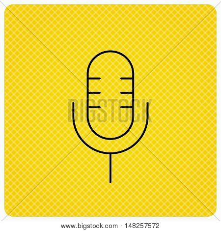 Retro microphone icon. Karaoke or radio sign. Linear icon on orange background. Vector