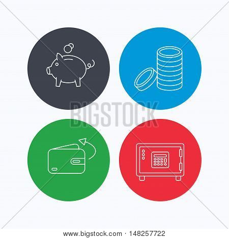 Piggy bank, cash money and wallet icons. Safe box, send money linear signs. Linear icons on colored buttons. Flat web symbols. Vector