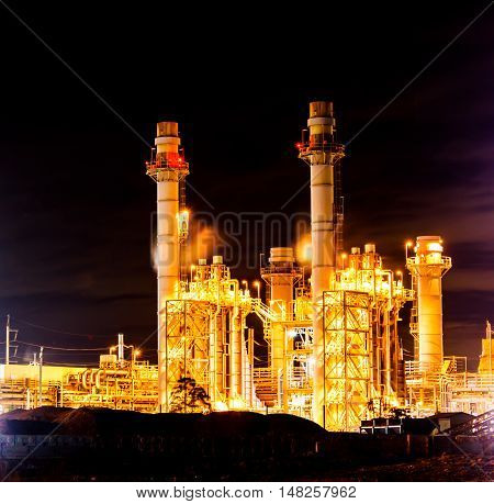 Power plant Working At Night, at Thailand