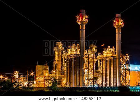 The Industrial production Power Plant  in night