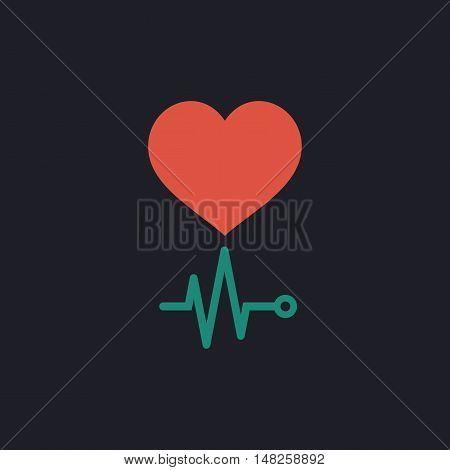 cardiogram Color vector icon on dark background