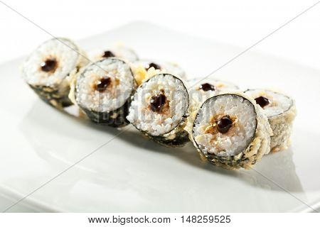 Tempura Maki Sushi - Deep Fried Roll made of Crab Meat and Smoked Eel inside