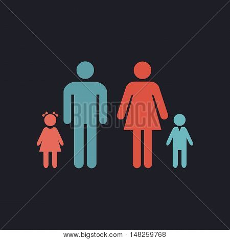 Family Color vector icon on dark background