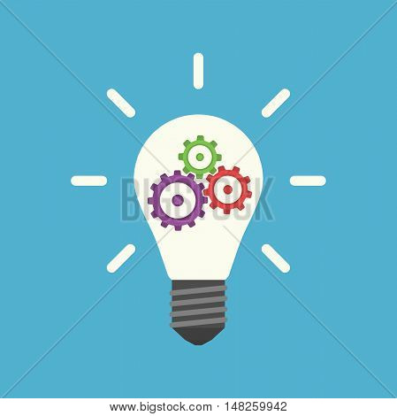 Light bulb with colorful gears inside isolated on blue background. Innovation idea and insight concept. Flat design. Vector illustration. EPS 8 no transparency