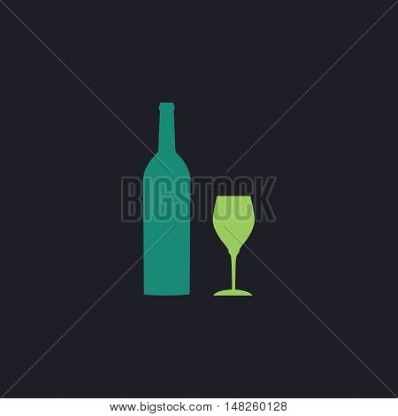 Bottle and glass Color vector icon on dark background