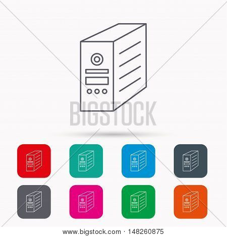 Computer server icon. PC case or tower sign. Linear icons in squares on white background. Flat web symbols. Vector