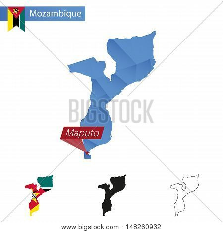 Mozambique Blue Low Poly Map With Capital Maputo.